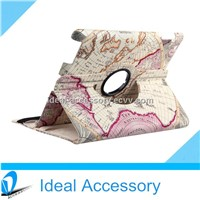 iPad 2/3/4/Air Stylish Map Pattern 360 Degrees Rotating Smart Cover PU leather Case With Stand