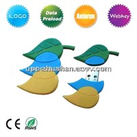 Hot Gifts PVC Materials Leaf USB Flash Memory Pendrive