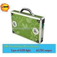 10W Portable Solar Power System With LED For Home Use/Lighting