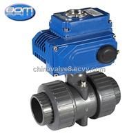 2 Inch Plastic Double Union PVC Ball Valve with Electric Actuator