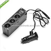 3 in1 Way USB Port Car DC Cigarette Lighter Socket Power Adapter Charger Splitter