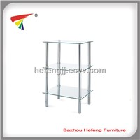 3- tier Square Glass Shelving Unit, Clear