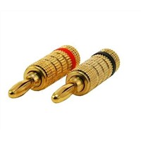 Banana plug connectors, gold plated