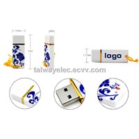 Blue and White Porcelain USB Flash Drive with 1 to 32GB Memory Capacities