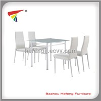 Cheaper Dining Set, 1 Glass Table +4 Chairs,white Color