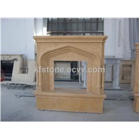 China beige marble stone fireplace