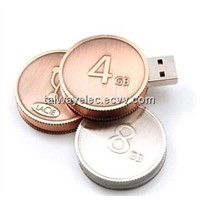 Customized Coin USB Flash Disk, USB 2.0 Interface
