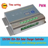 Free Shipping!PWM 30A pwm 20A solar charge controller 12V 24V auto work with led display