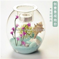 Glass Terrarium Candle Holder with Tealight Candle Home Decoration Creative Glass Table Vase