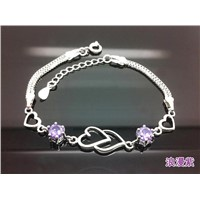 Heart-shaped rhodium plated 925 sterling silver bracelet with amethyst crystal cubic zircon stone