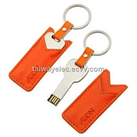 Leather USB Flash Drive with 2 to 64GB Capacity, Customized Logos and Designs Accepted