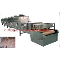 Microwave sterilizing and baking machine for krill