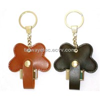 Promotional Leather USB Flash Drives with Plug-and-Play Function, Commercial Style, Butterfly Shaped