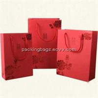 Red Paper Bag with Handle Gift Bag and Environmental Bag