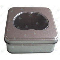 Square gift tin boxes with clear window,gift packaging with clear PVC plastic windows