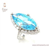 Sterling Silver CZ ring with aqua cubic zirconia stone