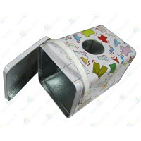 Washing powder packing tank,Square tin washing powder box,Tin box with window for washing powder