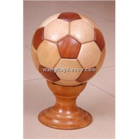 fancy hollow wood football with a solid wooden base, customized LOGO, wooden gift, promotion gift