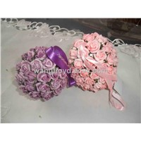romantic flower ball composed of artificial flowers, silk flowers with silk ribbon