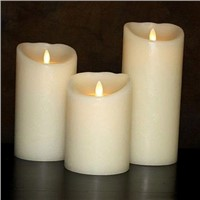 timer function battery operated flameless moving wick led candle