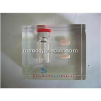 acrylic paperweight with bottle and pills embed