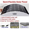 18w flexible solar panel with 0.9M cable front side connection/Sun power cells