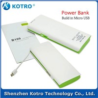 10000mAh build in USB Portable Phone Charger in most popular style