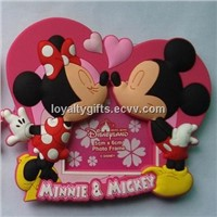 3D soft pvc rubber disney magnetic phto frame with stand