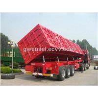 3 Axles Low Bed Semi Trailer Trucks / 20T 30T Manual side tipper Truck Trailer Howo