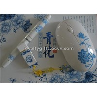 Blue and white porcelain USB disk wireless mouse and pen gifts kits