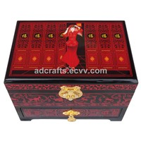 Carved lacquer jewelry case
