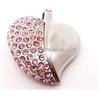 Crystal Heart  shape 4GB 8GB 16GB 32GB 64GB Jewelry Metal USB Flash