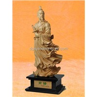 Figure Wood Carving Sculpture for Chinese historical person Quyuan