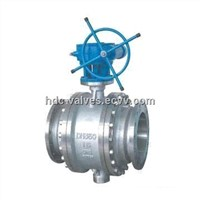 Flange Gear Floating Ball Valve with 150 to 1,500lbs Pressure