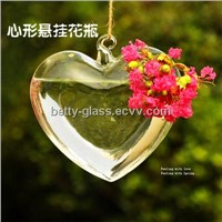 Heart Shaped Hanging Glass Vase Creative Lamp Blown Home Decorative Glass Terrarium