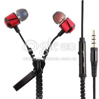 High performance stereo in-ear mp3 player mobile phone earphones zipper earphones