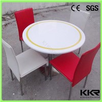 KKR solid surface stone round table top , tables and chairs