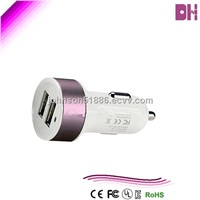 Promotional MIni  Dual  USB    car charger for mobile phone 1A/2.1A