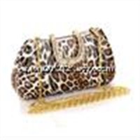 Supply high quality unique pu material dimond craft bag Sexy Leopard handy clutch bag