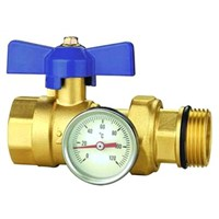 Temperature gauge ball valve for manifolds