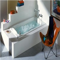 Three Wall Alcove Soaker Bath Tub with Armrests, Lumbar Support and Right Drain