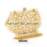 Valuable white color beaded clutch bags quality fashion pearl beaded shoulder Messenger Bag