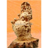 Vintage Figure handmade carving sculpture with small kids