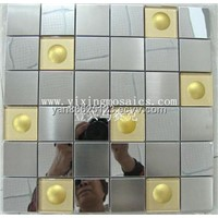 golden metal mosaic tiles mix Glass Mosaic tiles  (GM-130)