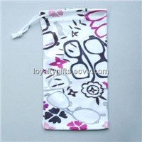 microfiber mobile phone pouch with drawstring