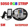 5M RGB led Strip 5050 SMD 60led/m Flexible Waterproof + 44key Remote + 12V Transformer Decoration