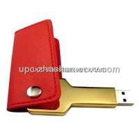 2014 New Arrival Gifts Leather Key USB Flash Drive (UPC-T207)