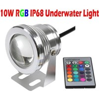 10W underwater RGB Led Light 1000LM IP68 fountain pool Lamp 16 color change with 24key IR Remote