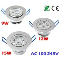 9W 12W 15W Ceiling downlight LED lamp Recessed Cabinet wall Bulb 85V-245V living room illumination