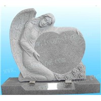 GRANITE TOMBSTONE WITH ANGEL DESIGN
